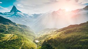 天空,雪,山,马特洪峰,策尔马特,蓝色,瑞士,城市,白色,水平画幅