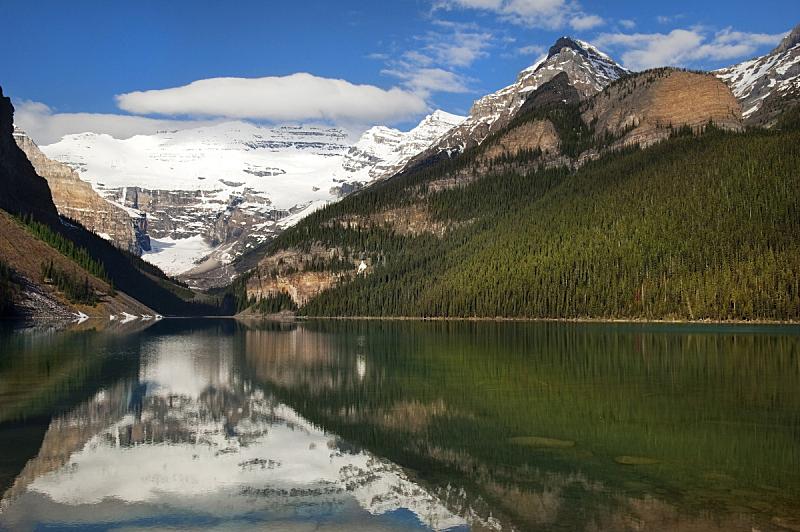 阿尔伯塔省,湖,班夫,加拿大,水,天空,水平画幅,雪,无人,户外