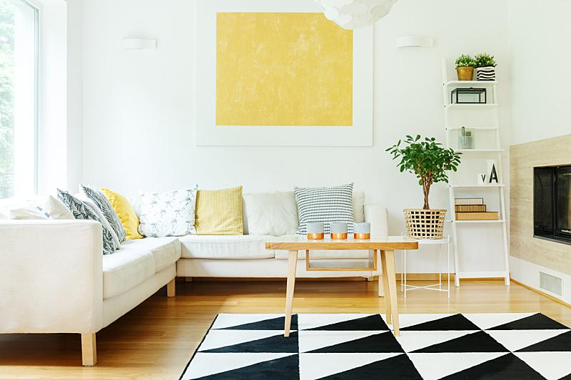沙发,米色,室内,热,太空,式样,黄金,桌子,水平画幅,吧椅
