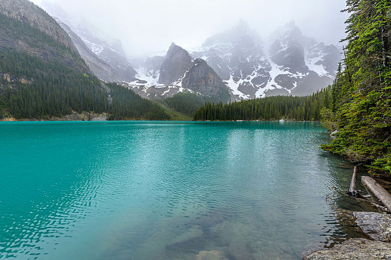 雪,阿尔伯塔省,雾,梦莲湖,山脉,加拿大,透明,班夫国家公园,春天,彩色图片