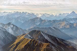 山顶,全景,航拍视角,阿尔卑斯山脉,楚格峰,奥地利,巴伐利亚,山脉,山,风景