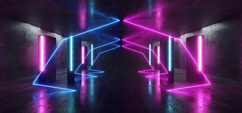 隧道,走廊,三维图形,未来,霓虹灯,蓝色,三角形,紫色,车库,发光
