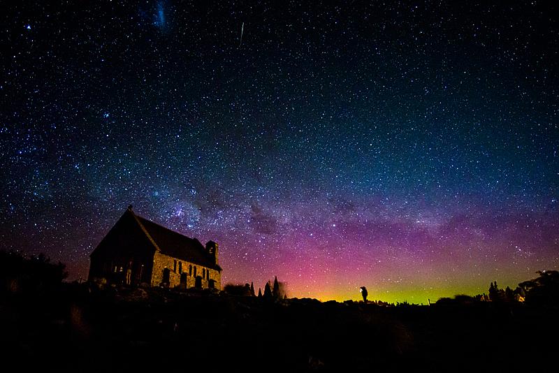 南极光,银河系,天空,太空,星系,水平画幅,夜晚,观众
