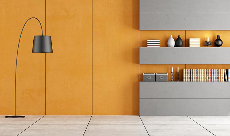 空的,起居室,小生镜,水平画幅,墙,无人,组物体,灯,现代,三维图形