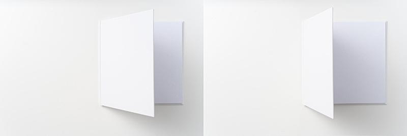 白色,开着的,笔记本,纯净,背景分离,视点,铅笔,简单,模板,三维图形