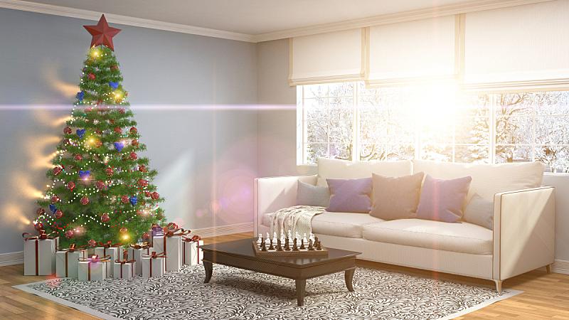 圣诞树,起居室,三维图形,插画,球,新的,黄金,水平画幅,夜晚