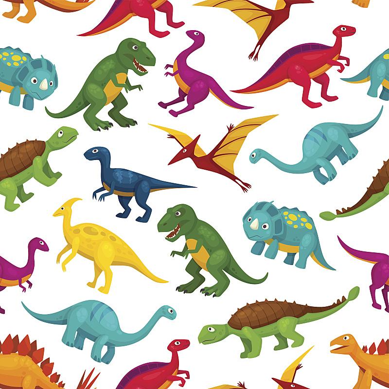 恐龙,四方连续纹样,卡通,儿童,翼龙目,翼手龙,霸王龙,剑龙,三角龙,侏罗纪