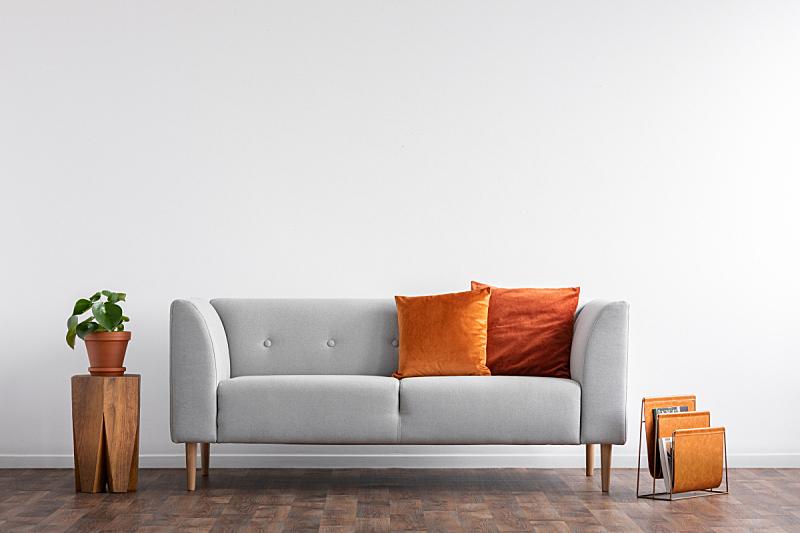 空的,橙色,沙发,起居室,白色,舒服,室内,枕头,墙,摄影
