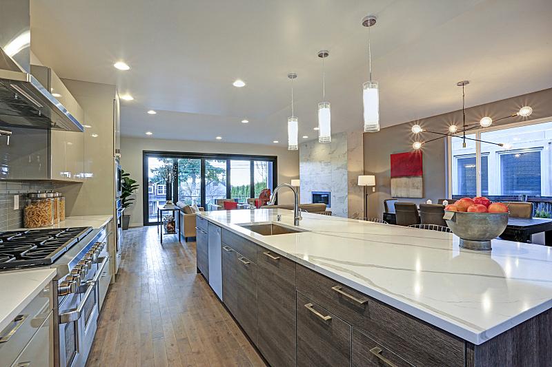 闪亮的,岛,厨房,极简构图,中心,长的,新的,水平画幅,无人,巨大的
