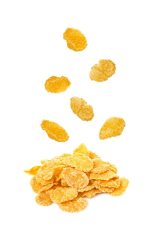 玉米片,白色背景,分离着色,谷类食品,谷物,谷类,垂直画幅,什锦烤燕麦片,素食,无人
