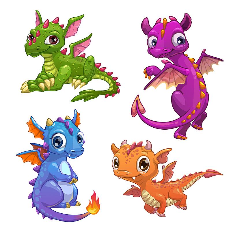 龙,小的,艺术,绘画插图,符号,蜥蜴,性格,动物身体部位,组物体,卡通