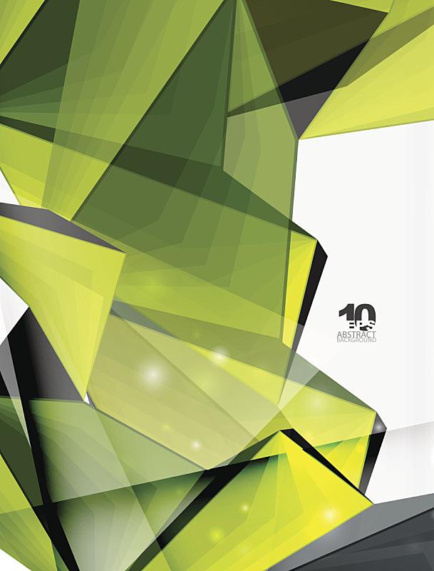 低多边形效果 ,背景,几何形状,三维图形,抽象背景,绿色,垂直画幅,留白,纹理效果,绘画插图