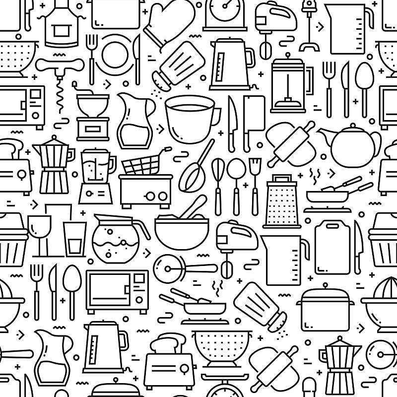 四方连续纹样,背景,厨房器具,计算机图标,线条,绘画插图,杯,炖锅,模板,烹调
