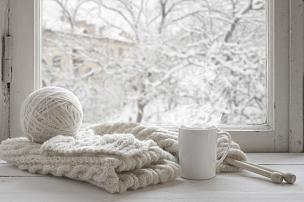 冬天,静物,舒服,窗台,羊毛,马克杯,热,针织,寒冷,窗户