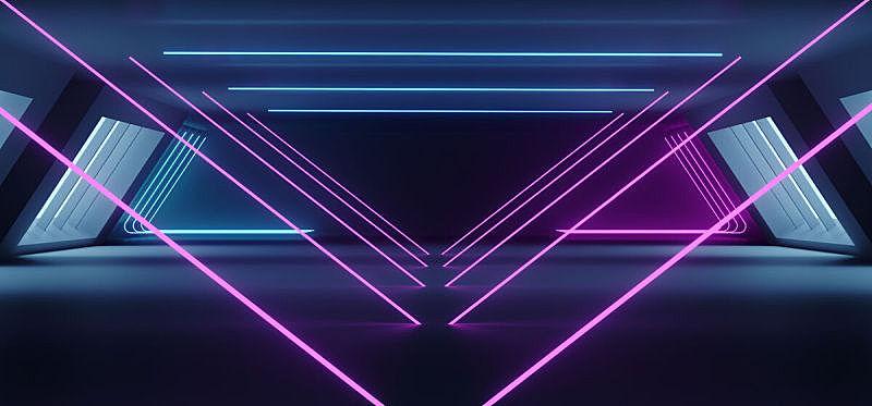 空的,隧道,走廊,背景,三维图形,未来,白色,霓虹灯,蓝色,黑色