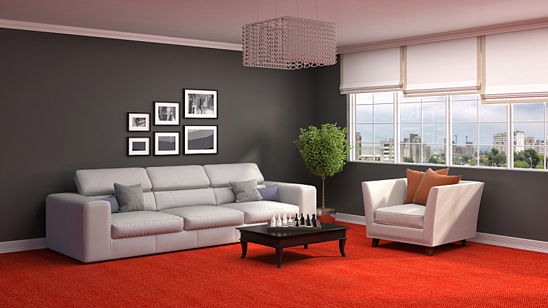 沙发,室内,三维图形,住宅房间,水平画幅,墙,无人,装饰物,家具,舒服