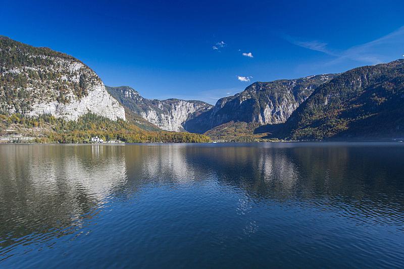 阿尔卑斯山脉,乡村,哈尔施塔特,水平画幅,夜晚,无人,夏天,户外,湖
