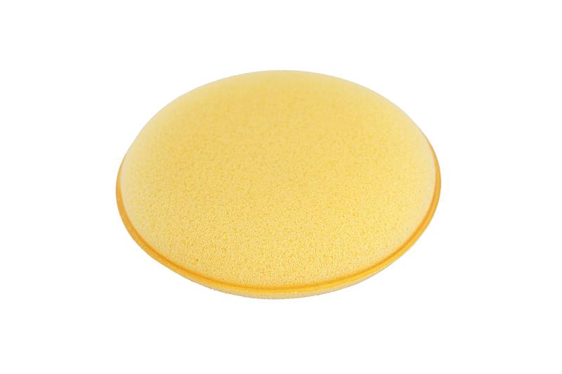 黄色,海绵,白色背景,分离着色,水平画幅,设备用品,家庭生活,拿着,摄影