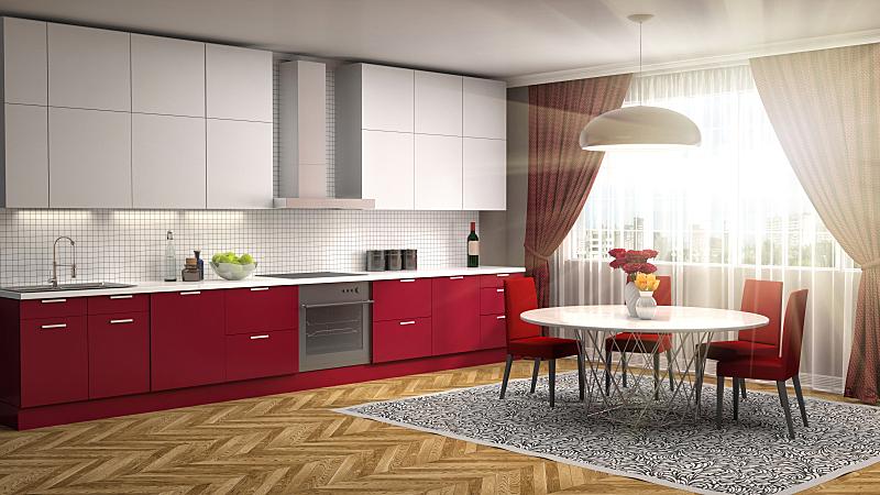室内,厨房,绘画插图,三维图形,新的,水平画幅,无人,家具,干净,俄罗斯