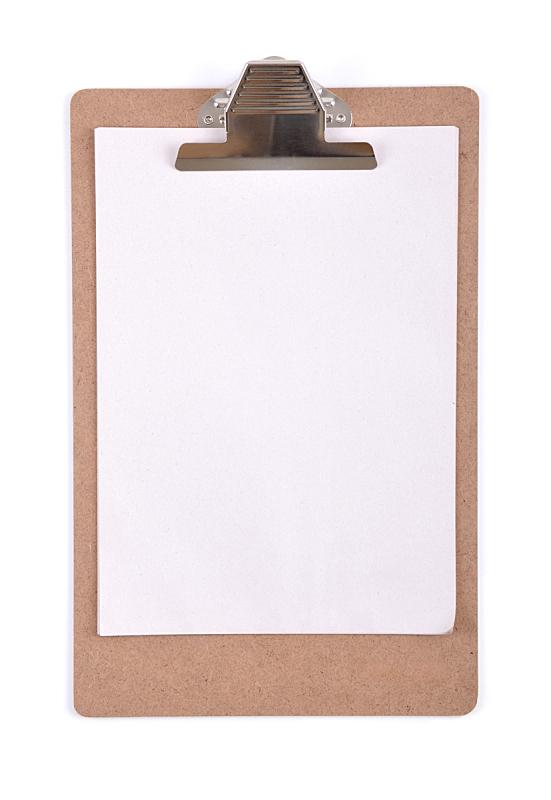 木制,写字板,垂直画幅,空白的,留白,回形针,无人,笔记本,白色背景,背景分离