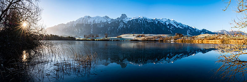 Stockhorn (Mountain) and Übeschisee in Switzerland
