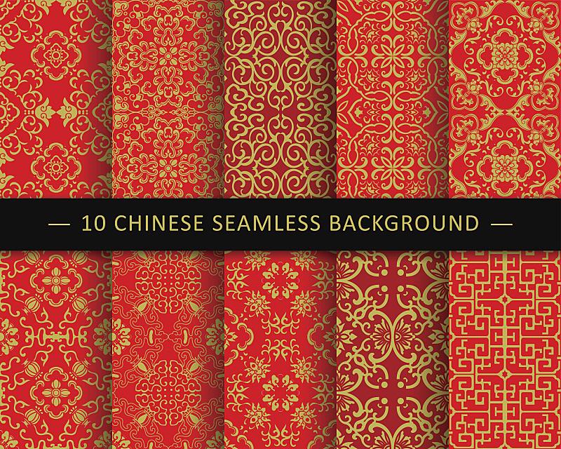 式样,中国,背景,传统,高雅,八边形,轮廓,亚洲,四方连续纹样,红色