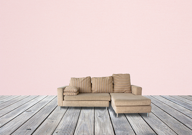 褐色,沙发,木制,粉色,壁纸,办公室,留白,边框,水平画幅,墙