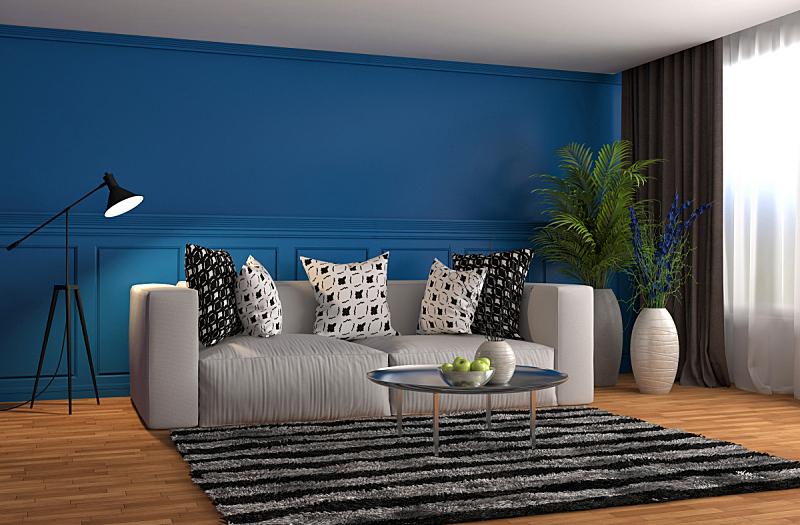 沙发,室内,绘画插图,三维图形,住宅房间,水平画幅,无人,蓝色,装饰物,家具