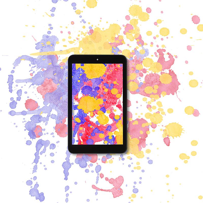 平板电脑,水彩背景,在上面,艺术,纹理效果,无人,计算机制图,计算机图形学,想法
