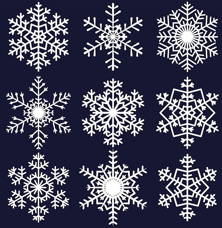 雪花,华丽的,圣诞装饰物,对称,多样,节日,绘画插图,卡通,白色,十二月