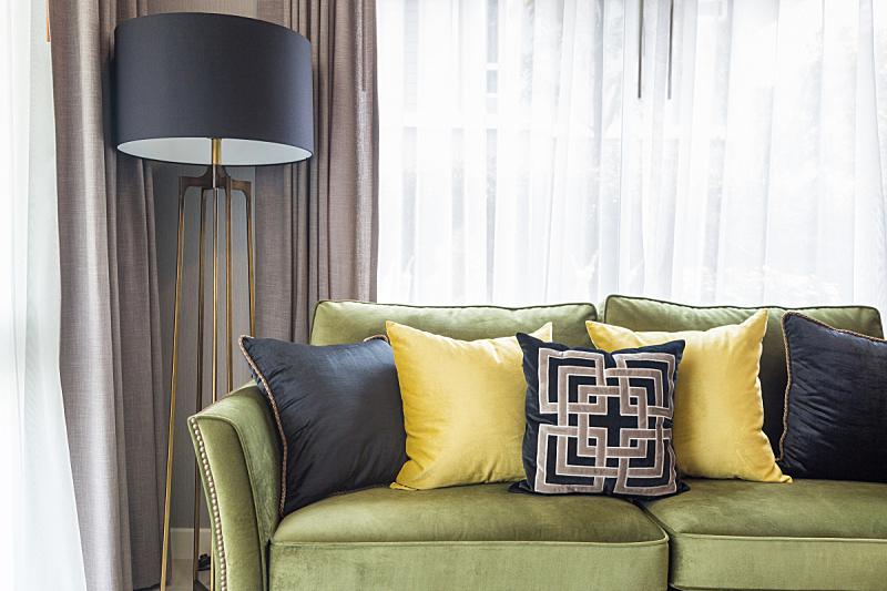 灯,沙发,起居室,枕头,新的,水平画幅,纺织品,无人,古典式,家具