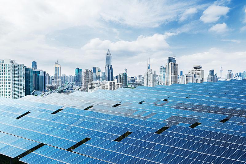 太阳能电池板,上海,城市生活,背景聚焦,天空,水平画幅,能源,无人,格子,户外