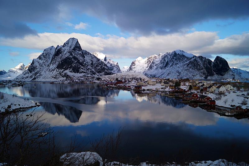 莫斯肯索亚岛,欧洲,挪威,斯堪的纳维亚半岛,欧洲北部,冬天,图像,雪,无人, 罗弗敦群岛