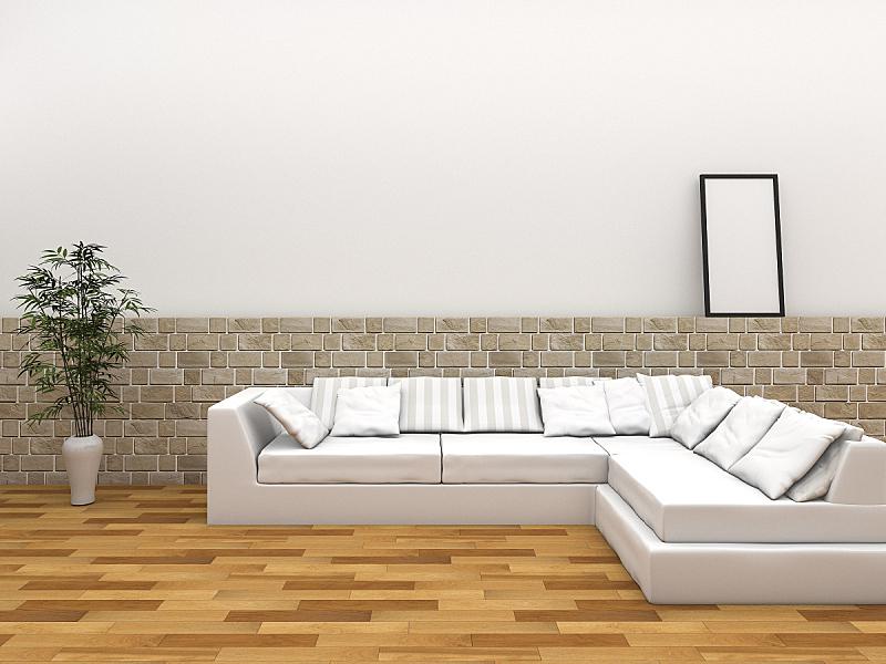沙发,住宅房间,舒服,镶花地板,三维图形,美,水平画幅,墙,无人,砖墙