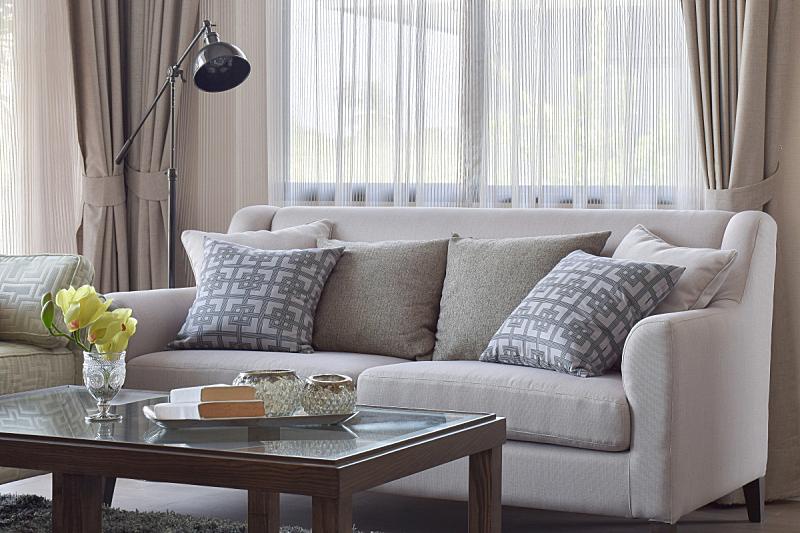 枕头,沙发,式样,起居室,热,米色,水平画幅,椅子,灯,家具