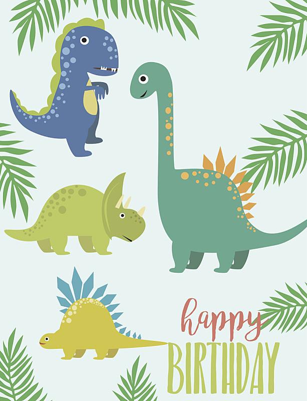贺卡,生日,恐龙,垂直画幅,艺术,绘画插图,气球,问候,布置,庆祝