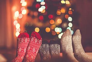 袜子,深情的,热,冬天,三个人,家庭,圣诞树,足,四肢