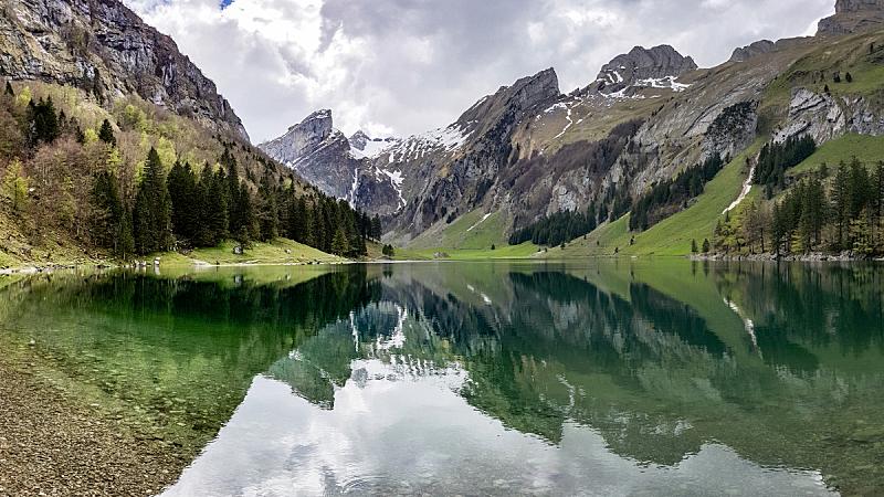 湖,瑞士阿尔卑斯山,瑞士,陆地,内阿彭策尔,水,天空,水平画幅,云,桑蒂斯