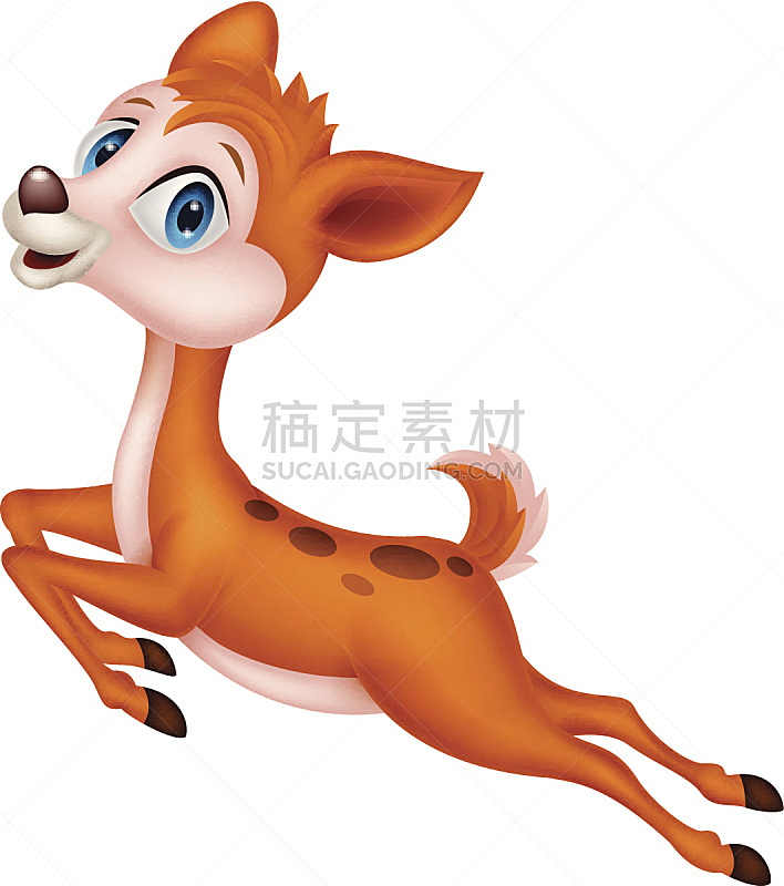 小鹿,可爱的,卡通,蹄,食草动物,背景分离,野生动物,哺乳纲,小的,动物