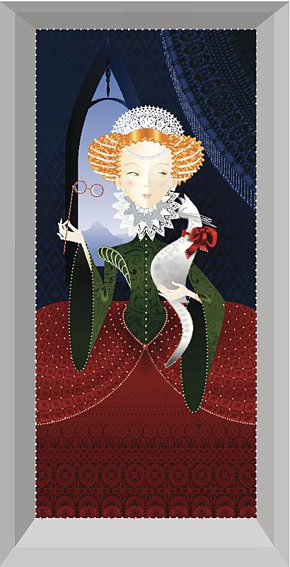 公主,猫,红发人,斑点,过去,窗帘,华贵,肖像,特色服装,复古风格