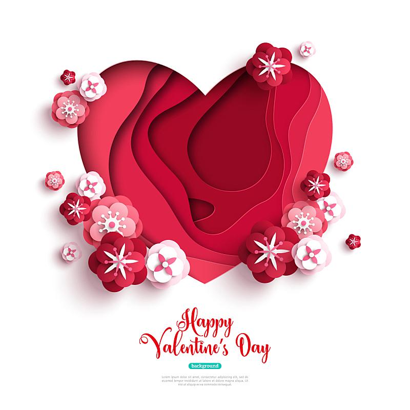 玫瑰,心型,纸,横截面,美,艺术,情人节,绘画插图,古典式,一次性杯子