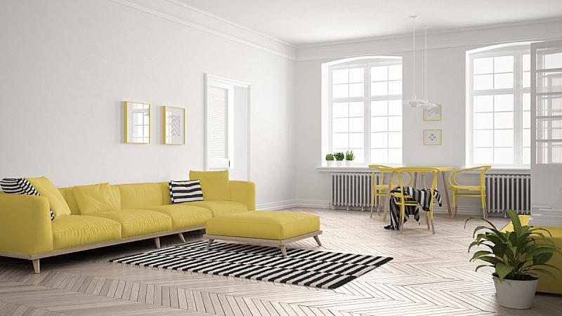 斯堪的纳维亚人,起居室,沙发,明亮,白色,黄色,极简构图,室内设计师,餐桌,跪垫