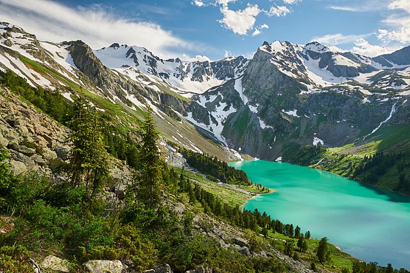 夏天,地形,俄罗斯,阿尔泰山脉,自然美,水,天空,洛矶山脉,雪,早晨