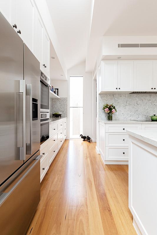 现代,白色,厨房,橡树,大特写,地板,垂直画幅,新的,长椅,无人