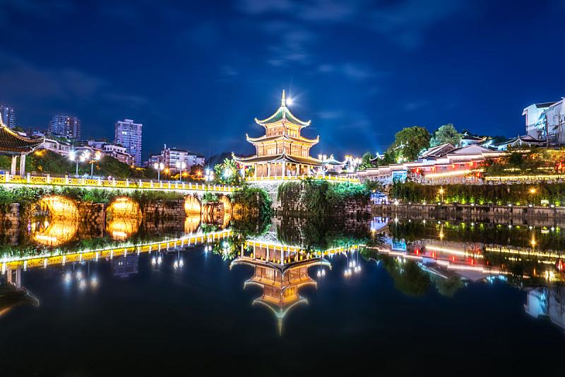 夜晚,建筑,过去,琴码,亚洲,贵阳,中亚,曙暮光,黄昏,图像