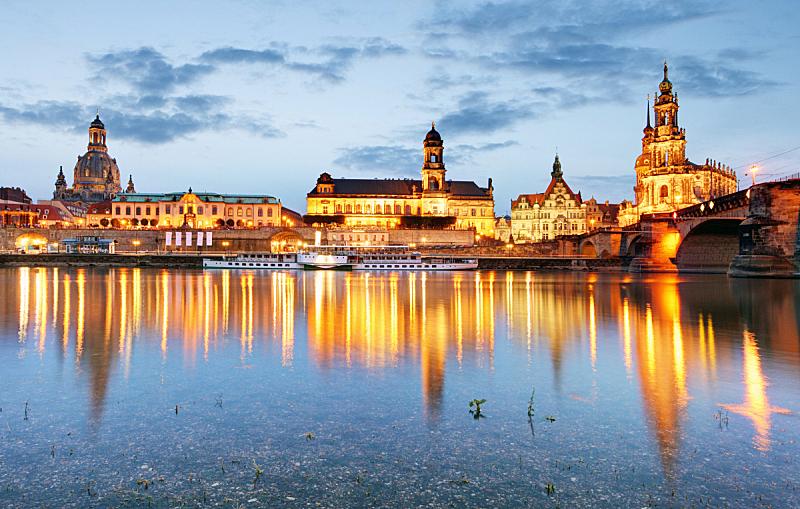 夜晚,德国,德累斯顿,剧院广场,塞姆佩尔歌剧院,歌剧院,易北河,水平画幅,无人