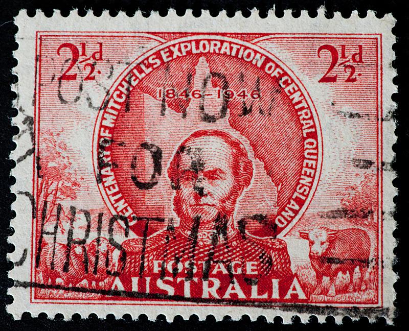 澳大利亚,1946,米切尔城,100周年,取消,邮戳,水平画幅,古老的,古典式