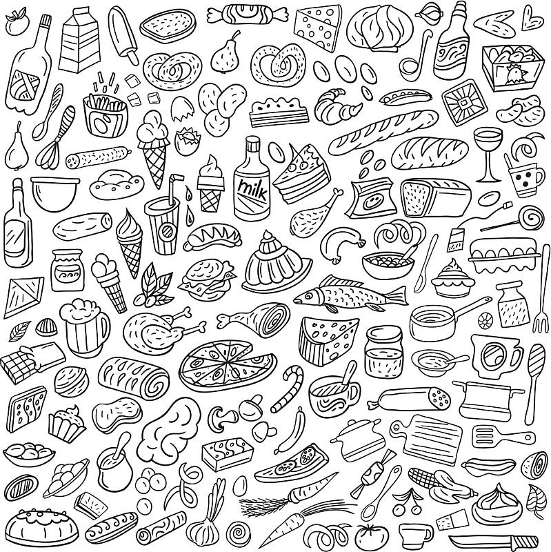 食品,乱画,绘画插图,水,形状,符号,蛋糕,海产,奶酪,饮料