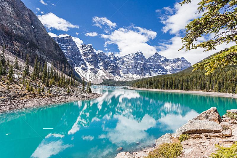 加拿大,梦莲湖,加拿大落基山脉,冰碛,杰士伯,碧玉,班夫,阿尔伯塔省,水,水平画幅