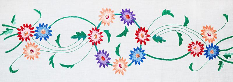 手艺,刺绣,白色背景,艺术,水平画幅,无人,十字形,乡村风格,棉,花束